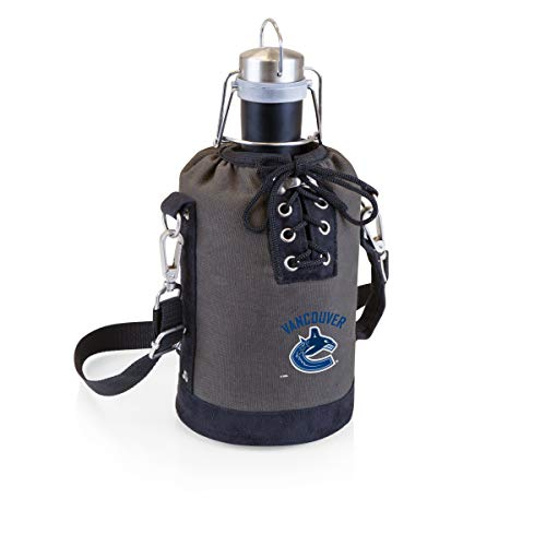 (PICNIC TIME NHL Vancouver Canucks Stainless Steel 64-Ounce Matte Black Growler with Gray/Black Canvas Lace-Up Tote)