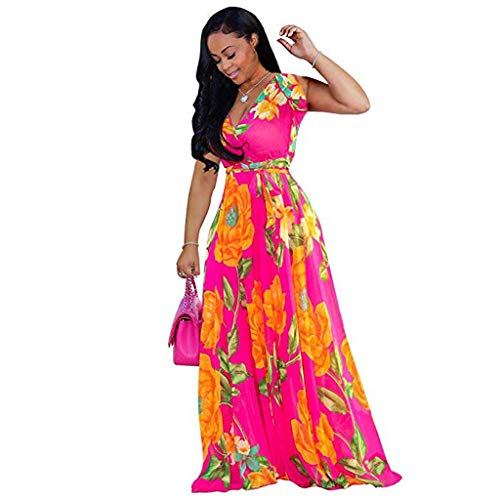 Huifa 2019 Stylish Women V Neck Printed Floral Maxi Dress with Waisted Belt Plus (Hot Pink,XL)