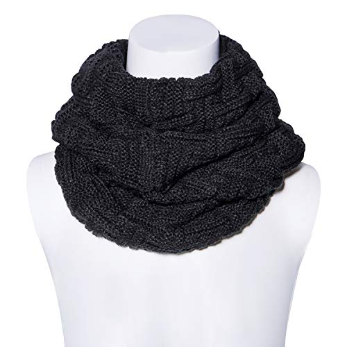 Scarf Ribbed Cashmere (Senker Women Winter Warm Thick Knitted Infinity Circle Loop Scarf)