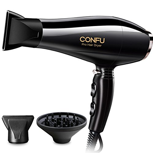 CONFU Ionic 1875W Professional Blow Dryer with AC Motor 2 Speed 3 Heat Settings Cool Shot Button Fast Drying for Healthy and Non Frizzy Hair ETL Certified, Black