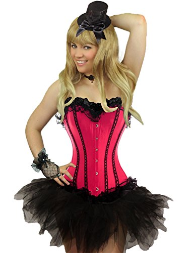 Yummy Bee Womens Burlesque Corset + Tutu Skirt Costume Size 4 Pink