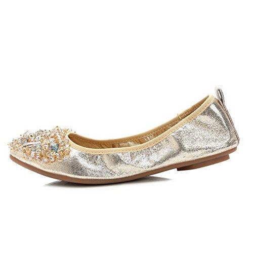 Damen AalarDom Absatz Golden Zehe Ziehen Ohne Schuhe Flache Rein Auf Spitz Od46rdq