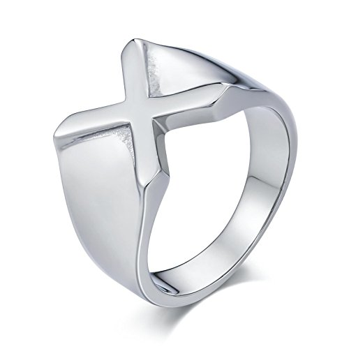 MoAndy Mens Rings Stainless Steel Wedding Rings Punk Bands Letter X Silver Size (Qvc Gift Card)