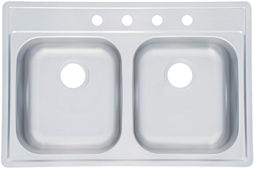 (Kindred FDS804NB Large Double Bowl Stainless Steel 33x22in. Topmount Sink)