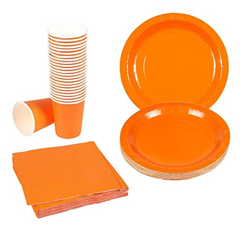 Disposable Dinnerware Set - 24-Set Paper Tableware - Dinner Party Supplies for 24 Guests, Including Paper Plates, Napkins and Cups, Neon Orange -