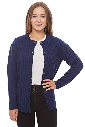 Knit Minded Long Sleeve Two Pocket Cable Knit Cardigan Sweater Navy 2X