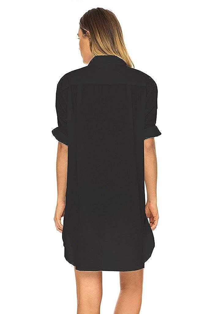 PANAX Leicht transparentes Damen Sommer Cover-Up Blusenkleid mit V-Ausschnitt in 8 Farbvarianten f/ür Urlaub Strand Pool Garten