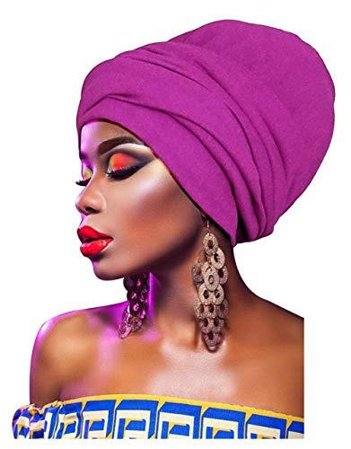 Print Wrap Jersey - L'VOW Women' Soft Stretch Headband Long Head Wrap Scarf Turban Tie (Purple)