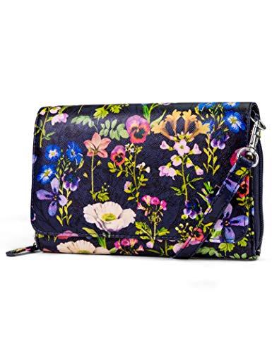 Mundi RFID Crossbody Bag For Women Anti Theft Travel Purse Handbag Wallet Vegan Leather (Floral 1)