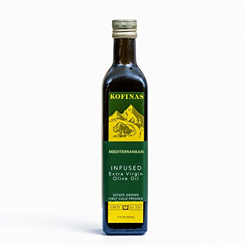 Mediterranean Flavored Extra Virgin First Cold Pressed Olive Oil 500 Ml (17 Oz) (Rosemary, Thyme, and Basil Flavor)