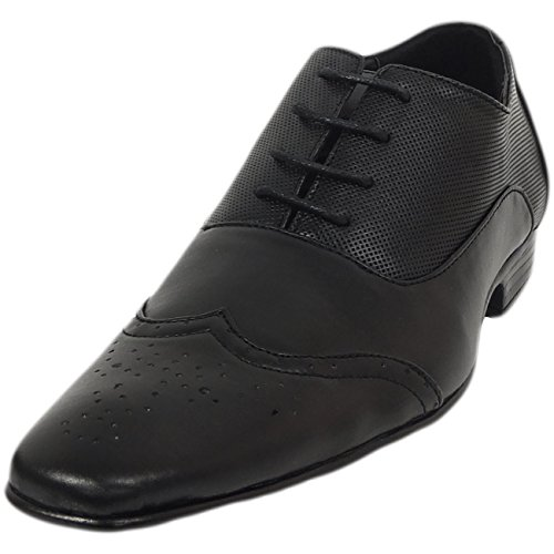 Gio Gino Mens Cuir Enduit Smart Lace Up Chaussure Noir