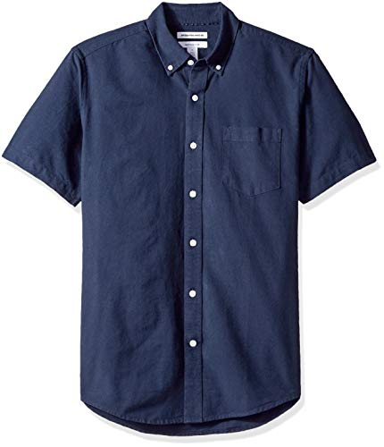 Amazon Essentials Men's Regular-Fit Short-Sleeve Pocket Oxford Shirt, Navy, Medium (Best Mens Shirts Untucked)