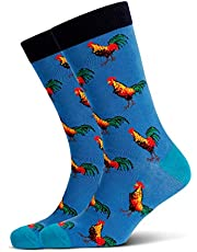 Mitch Dowd Men's Roosters Jacquard Crew Animal Pattern Novelty Socks Red