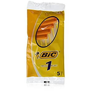Bic Disposable Razor Shavers Normal Single Blade 5-Count (Pack of 12)