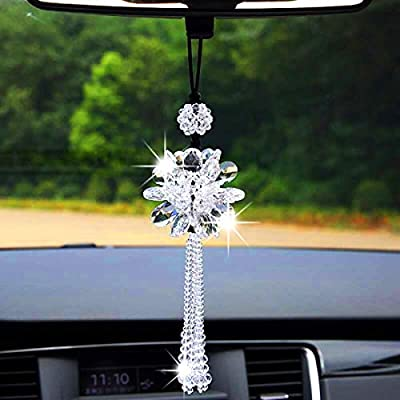 Car Rear View Mirror Pendant Crystal hanging Ornament Fashion Car Accessories Bling Colorful Mirror Pendant Lucky Crystal Auto Interior Decoration(White): Automotive