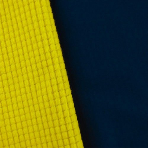 Navy/Yellow Waterproof Stretch Soft Shell Grid Fleece, Fabric by The Yard