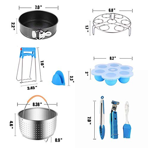 14pcs Accessories for Instant 6 QT&8QT, Steamer Basket, Silicone Bites Mold, Egg Rack,Non-Stick Springform Pan,Food, Pot Tong, Oven Mitts, Oi, 6QT&8QT by Chiyan by Chiyan (Image #6)