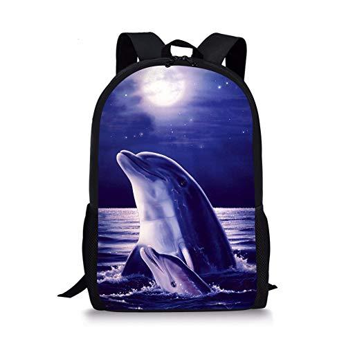 Xinind Cool 3D Pattern Children School Book Bag Printing Kids Backpacks Boys Bag (dolphin 3)
