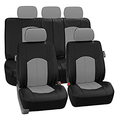 FH-PU008115 Perforated Leatherette Auto Car Seat Covers, Pink / Black Color - Fit Most Car, Truck, Suv, or Van