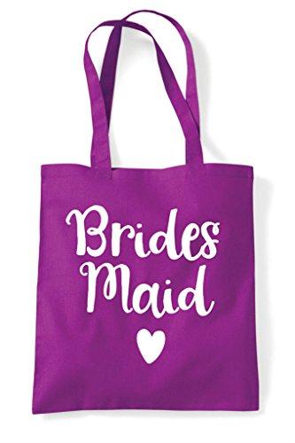 Heart Design Shopper Tote Bag Statement Magenta Wedding Bridesmaid 1xzn1