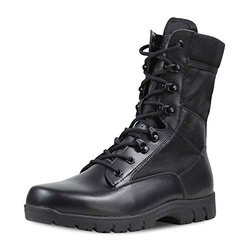 Ludey Men's Ultralight Breathable Combat Boots Commando Outdoor Desert Tactical Boots Military Boots Army Patrol Boots Security Police Shoes Black 8 US