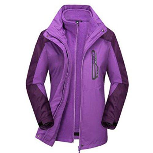 De Mujer Prueba Alpinismo Triple Dos Purple Para A Al Transpirable Impermeable Piezas Aire Cálido Libre Viento Chaquetas De wxF54AP