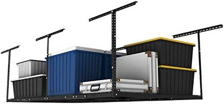 "FLEXIMOUNTS 4x8 Overhead Garage Storage Rack Adjustable Ceiling Garage Rack Heavy Duty, 96"" Length x 48"" Width x (22''-40"" Ceiling Dropdown), Black (Two-Color Options)"