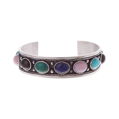 - NOVICA Multi-Gem Sodalite .925 Sterling Silver Cuff Bracelet, Colorful Arc'