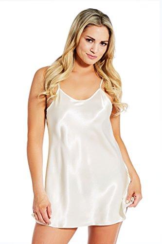 Jovannie Short Length Satin Chemise Teddy Sleepwear Nightgown Nightie Full Slip Dress Babydoll Nightwear (Ivory, XL)