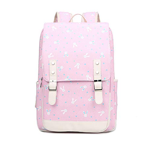 - Fresh Lovely Bunny Cute Rabbit Printing Backpack Girls Pink Knapsack Students Cartoon Schoolbag Laptop Rucksack Kids Canvas School Bags Teenagers Travel Daypacks (Pink)