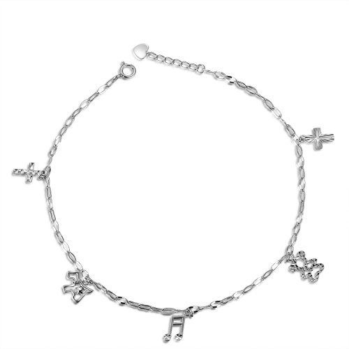 MaBelle 14K White Gold Cross, Dog, Music Note, Bear Charms Anklet (9.25