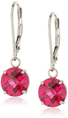 Sterling Silver Round Checkerboard Cut Gemstone Leverback Earrings 8mm