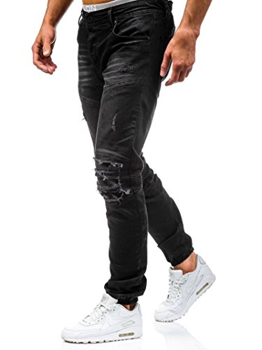 Wslcn Men S Stretch Denim Pants Destroy Biker Torn Hole Skinny Jeans