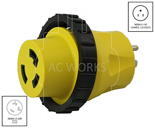 AC WORKS 30Amp RV Marine Detachable Adapters (5-15P Household 15A Plug) by AC WORKS (Image #1)