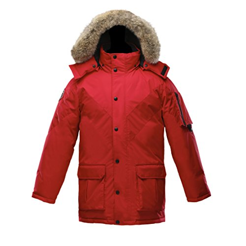Triple F.A.T. Goose Hesselberg Mens Goose Down Jacket With Real Coyote Fur (X-Large, Red) by Triple F.A.T. Goose