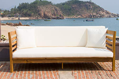 Safavieh Outdoor Collection Malibu Ash Grey/ Beige Acacia Wood Cushioned Daybed