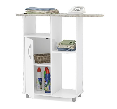Boahaus Ironing Cart, White, 4 casters wheels, 1 closed compartment by Boahaus