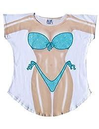 L.A. Imprints Seafoam Sparkle Bikini Cover-Up Ladies T-Shirt Size M/L
