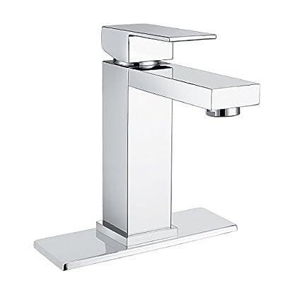 Waterfall Bathroom Sink Faucet Set - Doris K001 Single Handle Bathroom Sink Faucet for Single Hole and 3 Holes Bathroom Sink with 4 inch Centerset Deck Plate Escutcheon,Chrome