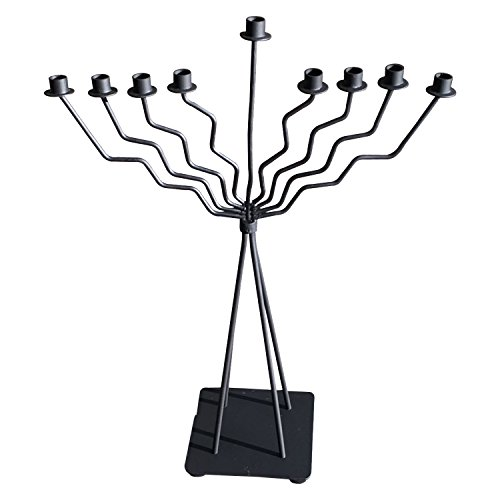 Wrought Iron Branch (GiftBay Menorah 9 Branch Black Finish Wrought Iron Modern Look 20