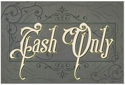 36x24 Cash Only CGSignLab Victorian Frame Window Cling