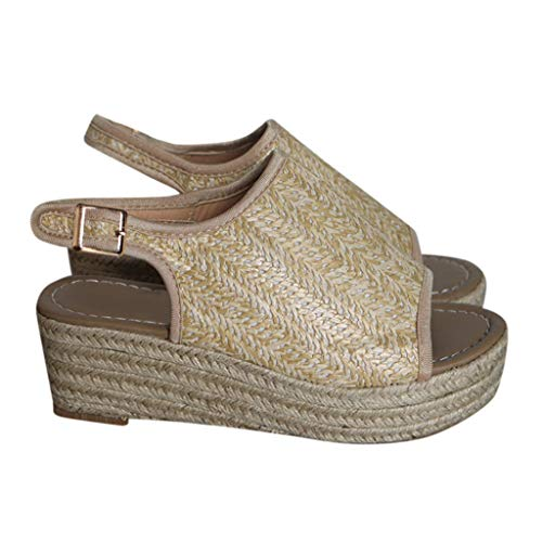 Women Platform Wedge Sandals Casual Espadrilles Open Toe Ankle Thick Heel Roman Ladies Shoes Beige -