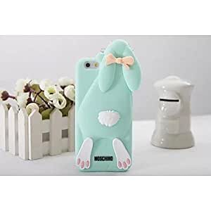 QYF Cartoon Buckteeth Rabbit Silica Gel Ste Back Cover for iPhone 6 Plus(Assorted Color) , Coffee