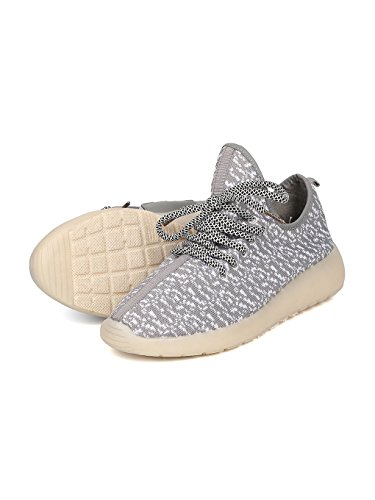 Kids Fabric Two Tone Lace Up Light Up Chargeable Jogger Sneaker GF45 - Grey (Size: Big Kid 4) by Link (Image #3)