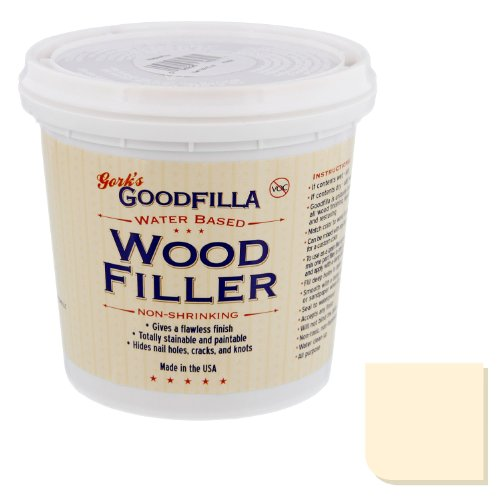 Water-Based Wood & Grain Filler - Ash - 1 Quart By Goodfilla | Replace Every Filler & Putty | Repairs, Finishes & Patches | Paintable, Stainable, Sandable & Quick Drying