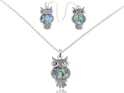 Alilang Silvery Tone Abalone Colored Stone Owl Bird Necklace Earrings Set
