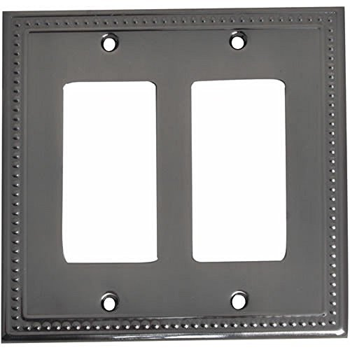 Lot of 4, (178-4834) Solid Double GFCI/Rocker Wall Plate, Antique Nickel (Double Gfci Solid Brass)