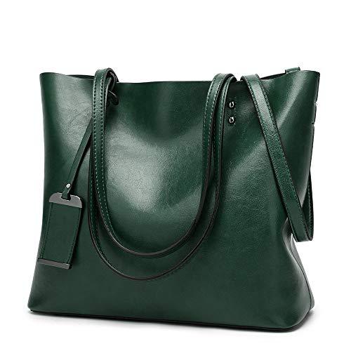 Hombro Green PU A4 Cuero 2way JANEFUJ para Gran Ajustable Bolsos de tamaño Cubierta Capacidad Estudiante de de de Viajero Mujer xqwgHq