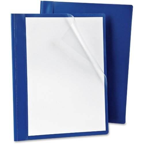 Oxford Presslock Clear Front Report Covers with Blue Back, 25 per Box (52702)