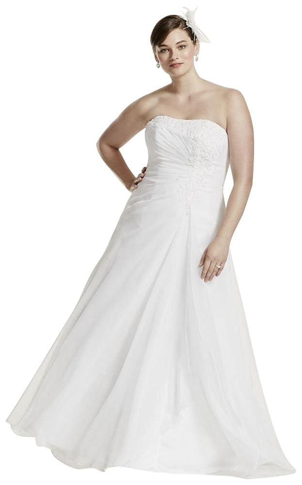 Davids Bridal Chiffon Side Drape A Line Plus Size Wedding Dress